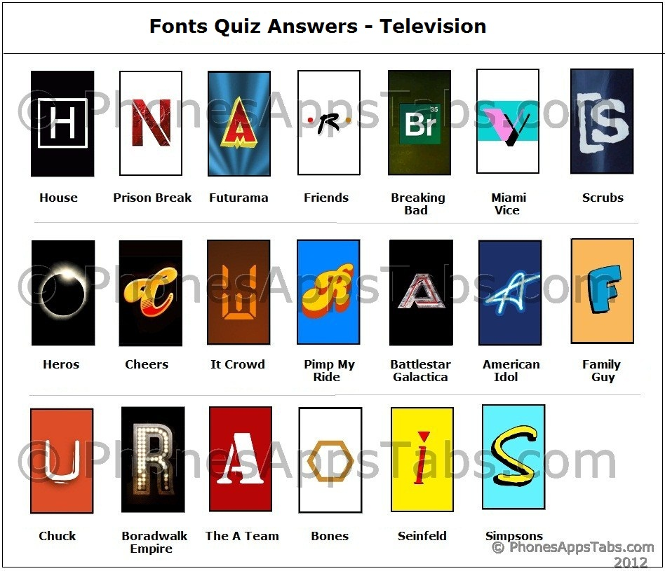 Fonts Quiz Answers - Television