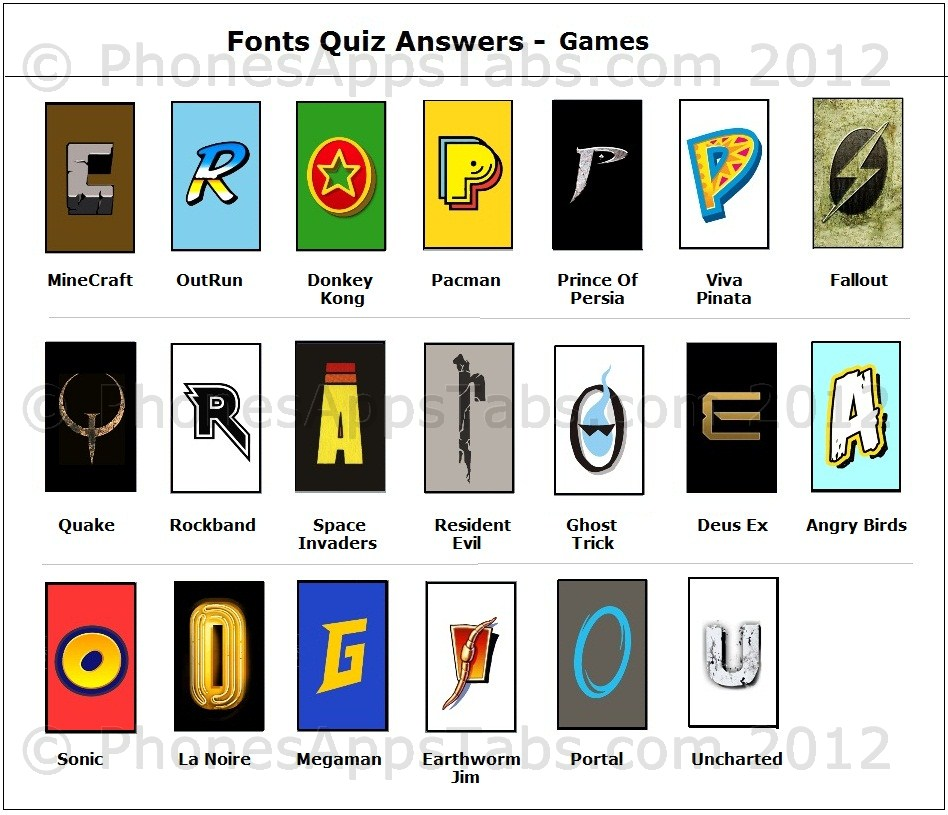 fonts quiz answers and cheats games
