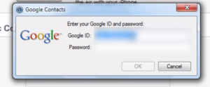 Gmail UserName and Password to Backup iPhone Contacts