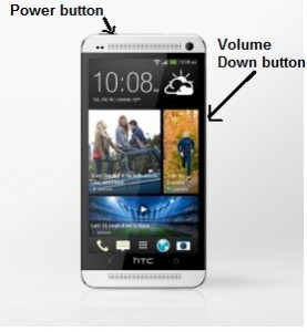 HTC One Screenshot - Power and Volume Down buttons